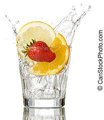 fruit - splashing orange, lemon and strawberry into a water ...