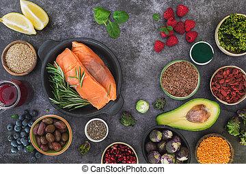 fruit, ssuper, fond, fish, sélection, légume, nourriture