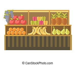 Fruit stand counter vector booth for product shop or supermarket store display
