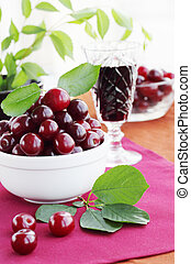 Fruit still life / is cherries and the beverage