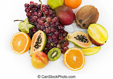 fruit - Healthy fruit assortment with papaya, kiwi, orange...