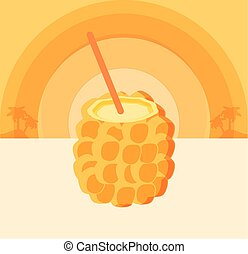 fruit, strand, cocktail, ananas