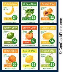 Fruit tag and label set for organic shop design
