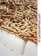 fruit tamarind on a table in the market
