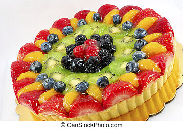 Fruit tart cake on a white background