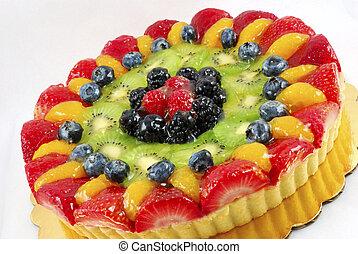 Fruit tart cake on a white background