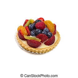 Fruit tart on white background