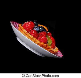 Fruit Tart - Fruit tart isolated over black