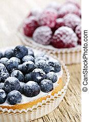 Fruit tarts - Closeup of fancy gourmet fresh fruit dessert...