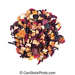 Fruit tea with hibiscus, apple, raspberry, rose petals and dog-rose, isolated on white background. Top view.