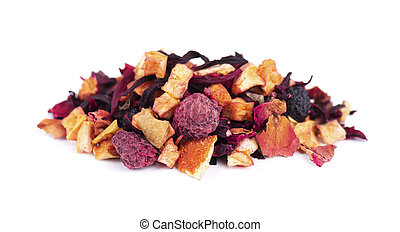 Fruit tea with hibiscus, apple, raspberry, rose petals and dog-rose, isolated on white background.
