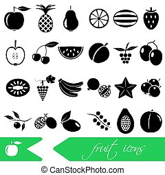 fruit theme black simple icons set eps10