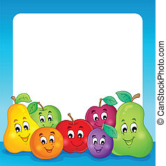 Fruit theme frame 1 - eps10 vector illustration.