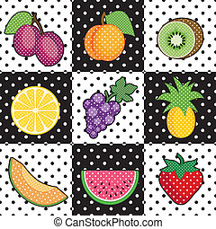 Fruit Tiles - Decorative fruits in polka dot design: plums, ...