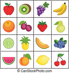 16 fresh fruits, polka dot design, gingham frame. Apple, lemon, grapes, bananas, orange, plums, pear, kiwi, pineapple, strawberry, cantaloupe, blueberries, watermelon, peach, lime, cherry. EPS8 compatible.