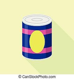 Fruit tin can icon, flat style