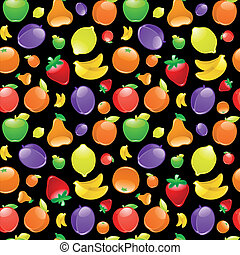 Fruit to black background. Seamless pattern