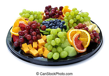 Fruit tray - Isolated platter of assorted fruit and cheese