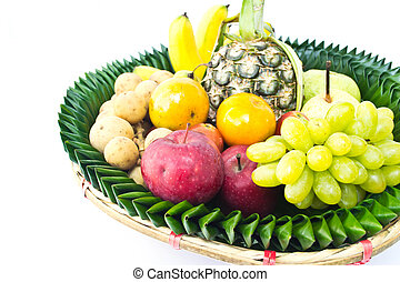 Fruit tray on a white background