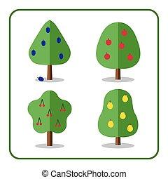 Fruit tree icons set 3