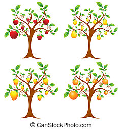 illustration of set of apple, mango, pear and orange tree