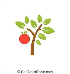 Fruit Tree - Vector apple fruit tree isolated on white ...