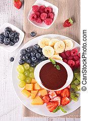 fruit, trempette, chocolat