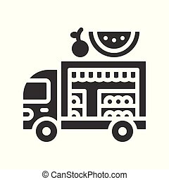 Fruit truck vector, Food truck solid style icon