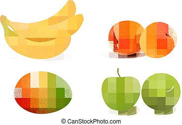 fruit., vecteur, groupe