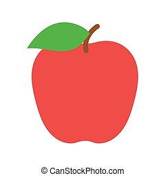 fruit., vecteur, pomme, illustration, rouges
