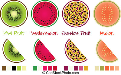 Fruit slices and wedges in vector format complete with...