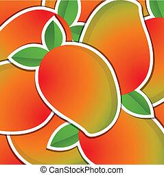 Fruit - Mango sticker background/card in vector format.