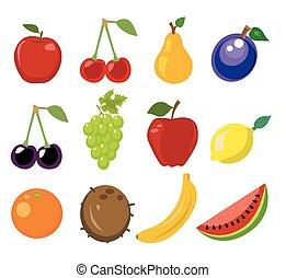 fruit, vector, set, illustratie