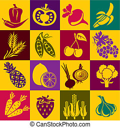fruit-vegetables - Seamless vector background with colorful...
