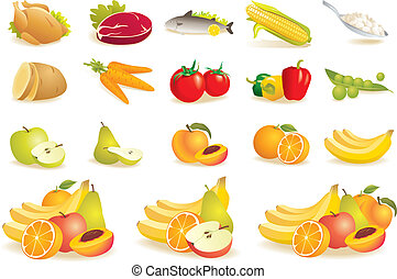 Fruit, vegetables, meat, corn icons - Various food icons set...