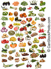 A collection of vegetables, fruits, nuts and spices isolated on a white background.