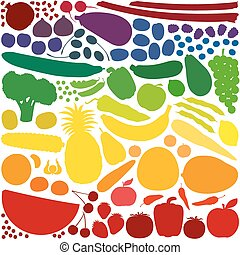 Fruit Vegetables Rainbow Colors