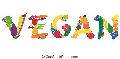 VEGAN written with colorful fruits and vegetables. Isolated vector illustration over white background.