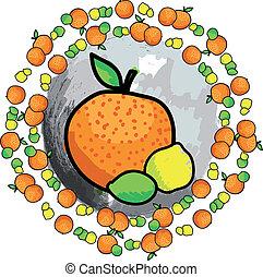 fruit., vektor, citronsyra, illustration