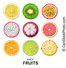fruit, vrijstaand, schijfen