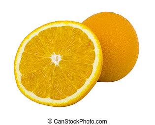 fruit, vrijstaand, voedsel., achtergrond., sinaasappel, witte