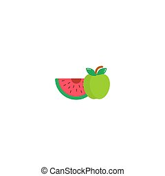 Fruit. Watermelon and apple icon in a flat style