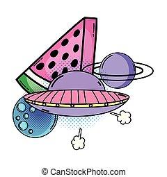 fruit watermelon with ufo pop art style