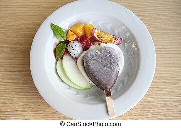 Fruit with chocolate ice cream