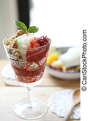 Fruit with ice cream