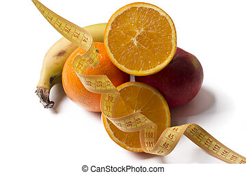 fruit with tape measure isolated