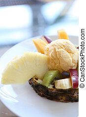 Fruit with vanilla ice cream
