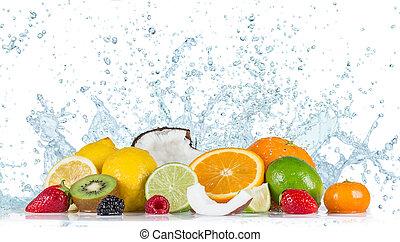 Fruit with water splash - Fresh fruit with water splash