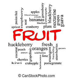 Fruit Word Cloud Concept in red caps