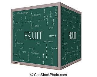 Fruit Word Cloud Concept on a 3D cube Blackboard